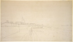 Ramparts of Fort St. George, Madras, overlooking the beach and sea. November 1792